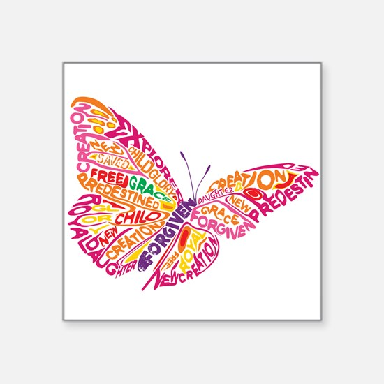 """Flying by Grace Square Sticker 3"""" x 3"""""""