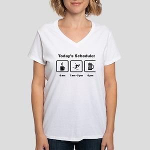 Skiing Women's V-Neck T-Shirt