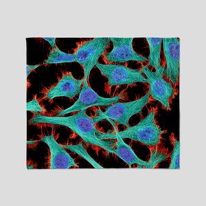 HeLa cells, light micrograph - Throw Blanket