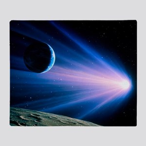 Artwork of a comet passing Earth - Throw Blanket