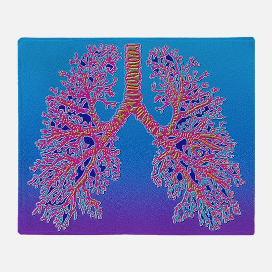 Computer art of human lung trachea - Stadium Blan