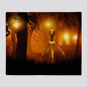 Alien emerging from a forest - Throw Blanket
