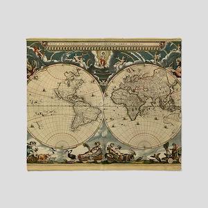 17th century world map - Throw Blanket