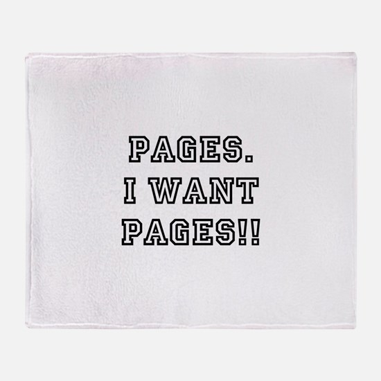 Pages. I want pages!! Throw Blanket