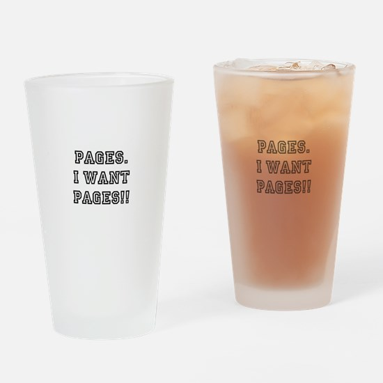 Pages. I want pages!! Drinking Glass