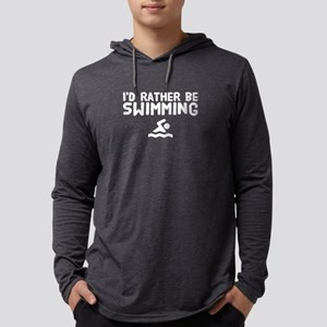 I'd rather be swimming Mens Hooded Shirt
