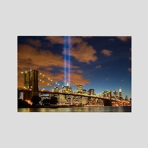 WTC Lights Brooklyn Bridge Rectangle Magnet