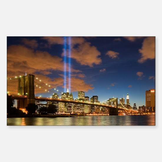 WTC Lights Brooklyn Bridge Rectangle Decal