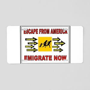 EMIGRATE NOW Aluminum License Plate