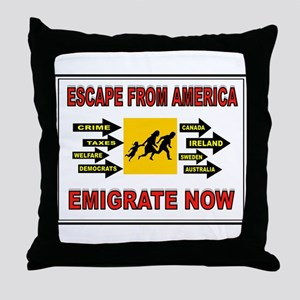 EMIGRATE NOW Throw Pillow