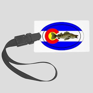 Colorado Oval Flag Walleye Large Luggage Tag