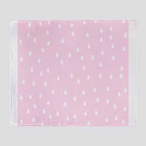 Rain Drop Pattern, Pink. Throw Blanket