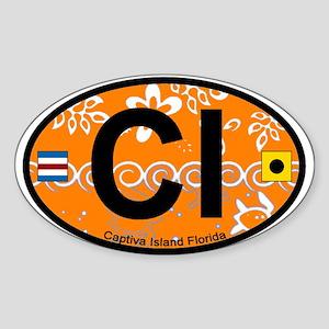 Captiva Island - Oval Design. Sticker (Oval)