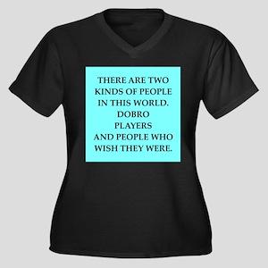 dobro Women's Plus Size V-Neck Dark T-Shirt