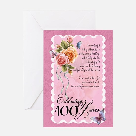 100 years old birthday greeting cards cafepress 100 years old greeting card roses and butterflie bookmarktalkfo Images