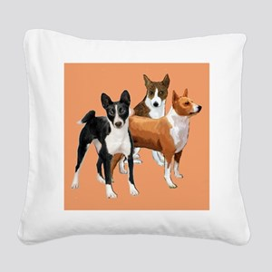 three basenjis Square Canvas Pillow