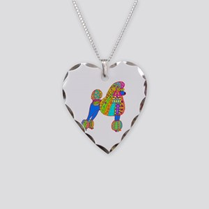 Pretty Poodle Design Necklace Heart Charm