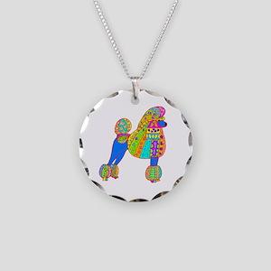 Pretty Poodle Design Necklace Circle Charm