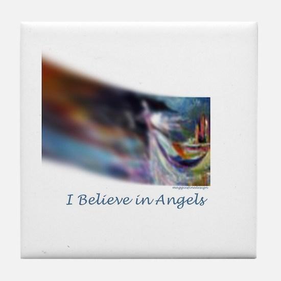 i believe in angels Tile Coaster