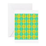 Green and Yellow diagonal tile Pattern Greeting Ca