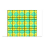 Green and Yellow diagonal tile Pattern Postcards (