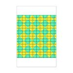 Green and Yellow diagonal tile Pattern Mini Poster