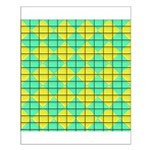 Green and Yellow diagonal tile Pattern Small Poste