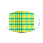 Green and Yellow diagonal tile Pattern 20x12 Oval