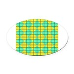 Green and Yellow diagonal tile Pattern Oval Car Ma