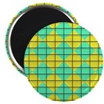 Green and Yellow diagonal tile Pattern Magnet