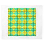 Green and Yellow diagonal tile Pattern King Duvet