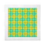 Green and Yellow diagonal tile Pattern Queen Duvet