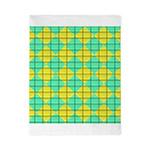 Green and Yellow diagonal tile Pattern Twin Duvet