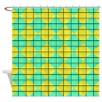 Green and Yellow diagonal tile Pattern Shower Curt