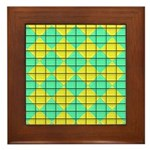 Green and Yellow diagonal tile Pattern Framed Tile