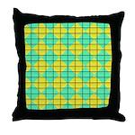 Green and Yellow diagonal tile Pattern Throw Pillo