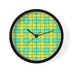 Green and Yellow diagonal tile Pattern Wall Clock
