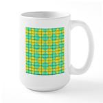 Green and Yellow diagonal tile Pattern Large Mug