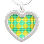 Green and Yellow diagonal tile Pattern Silver Hear