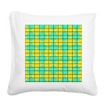 Green and Yellow diagonal tile Pattern Square Canv