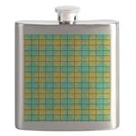Green and Yellow diagonal tile Pattern Flask