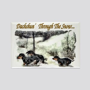 Dachshund Christmas Rectangle Magnet (10 pack)
