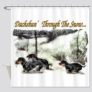 Dachshund Christmas Shower Curtain