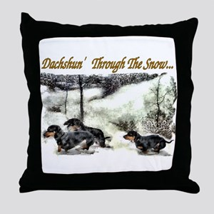 Dachshund Christmas Throw Pillow