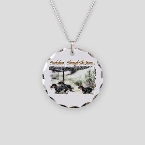Dachshund Christmas Necklace Circle Charm
