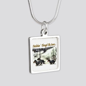Dachshund Christmas Silver Square Necklace