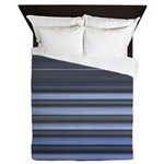 Blue and Grey Stripes Pattern Queen Duvet