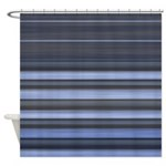 Blue and Grey Stripes Pattern Shower Curtain