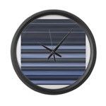 Blue and Grey Stripes Pattern Large Wall Clock