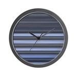 Blue and Grey Stripes Pattern Wall Clock